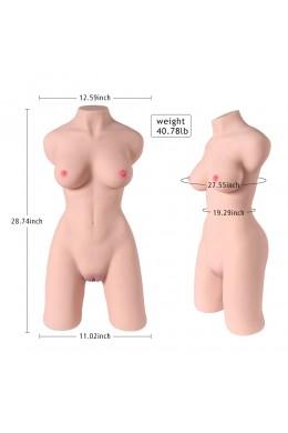 Lauren 19kg levensgrote volwassen speelgoedvrouw Torso-sekspop voor mannen, kunstkut poesje kont met skelet-3D