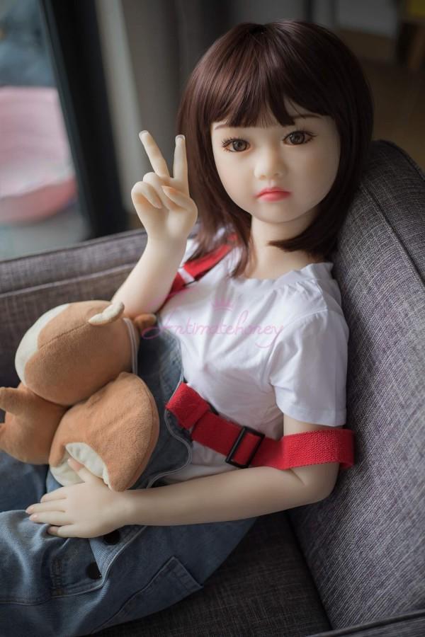 Ida Mignonnes petites filles avec petite poitrine TPE Mini poupée de sexe en silicone pour hommes 4.1ft (125cm)