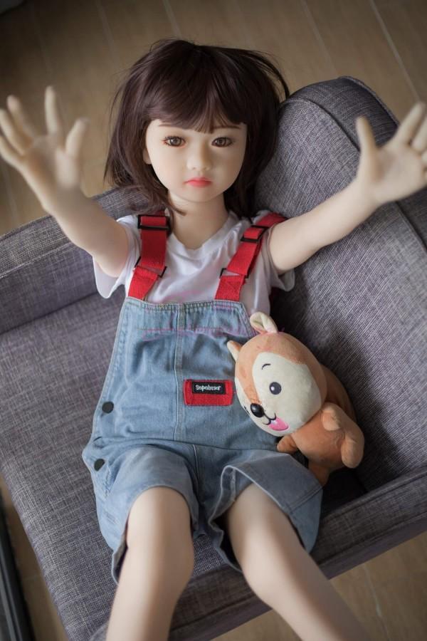 Ida Süße kleine Mädchen mit kleiner Brust TPE Silikon Mini Sex Puppe für Männer 4.1ft (125cm)