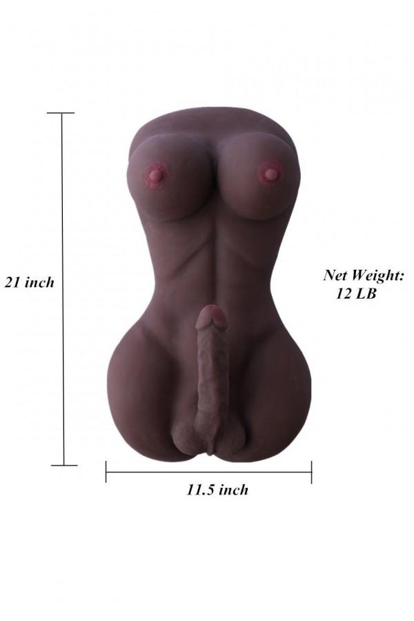 Black Full Silicone Lady Boy Sex Doll with 18cm Penis&Big Breast