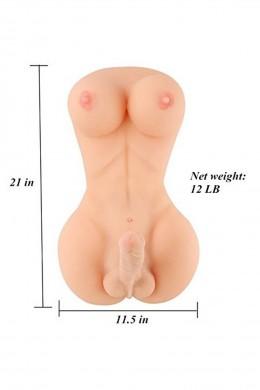 Silicone Lady Boy Sex Doll with 18cm Penis & Big Breast